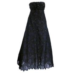 Scaasi 80s Black Lace Strapless Gown with Rhinestones