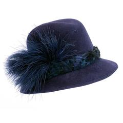 Jack McConnell 80s Blue Felt Fedora with Feathers