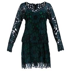 Geoffrey Beene 80s Black and Green Lace Cocktail Dress