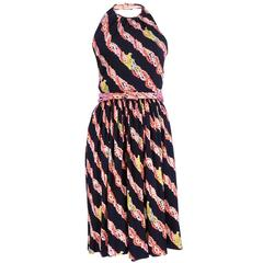 Donald Brooks 70s Silk Halter Dress with Beaded Belt and Scarf