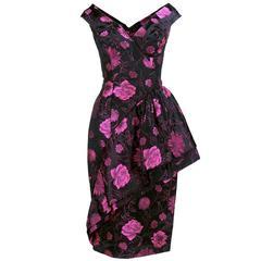 50s Black and Pink Floral Jacquard Cocktail Dress