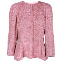 Gorgeous 80s Pink Solid Beaded & Sequinned Evening Jacket
