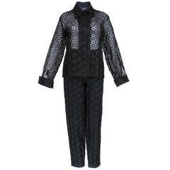 1990s Todd Oldham Floral Embroidered Eyelet Pantsuit Ensemble
