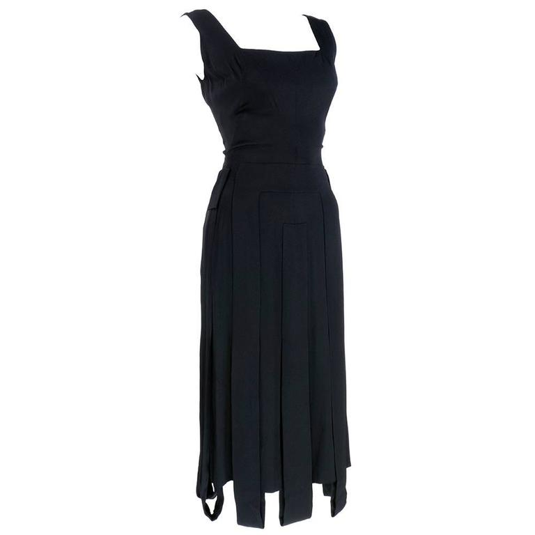 Irene 50s Fitted Black Silk Car Wash Dress 2