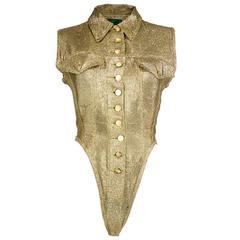 Junior Gaultier 90s Gold Denim Cut Bodysuit