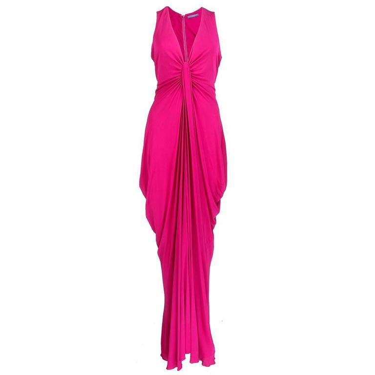 McQueen 2000s Fuschia Jersey Goddess Gown 1