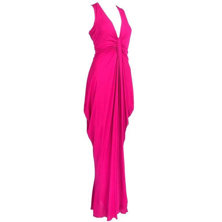 McQueen 2000s Fuschia Jersey Goddess Gown 2