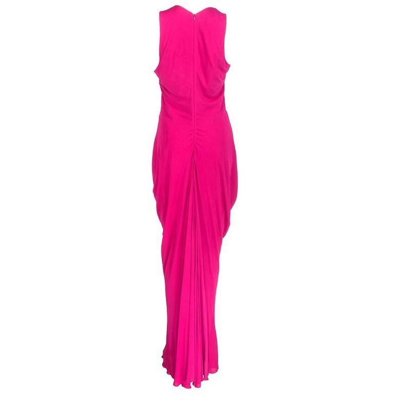 McQueen 2000s Fuschia Jersey Goddess Gown 3