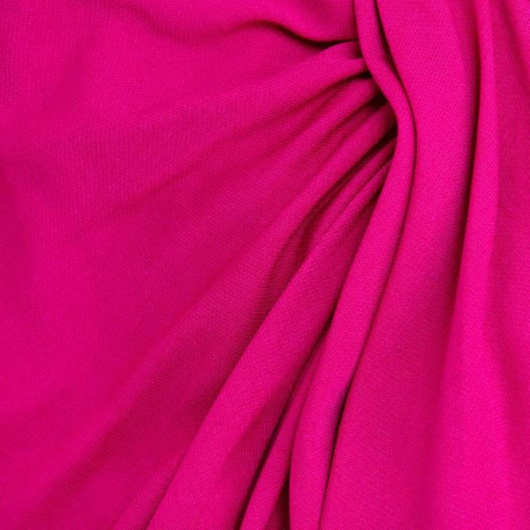 McQueen 2000s Fuschia Jersey Goddess Gown 4