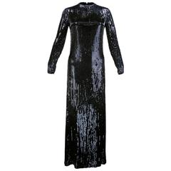 Norman Norell Attribution Black Beaded and Sequined Full Length Sheath