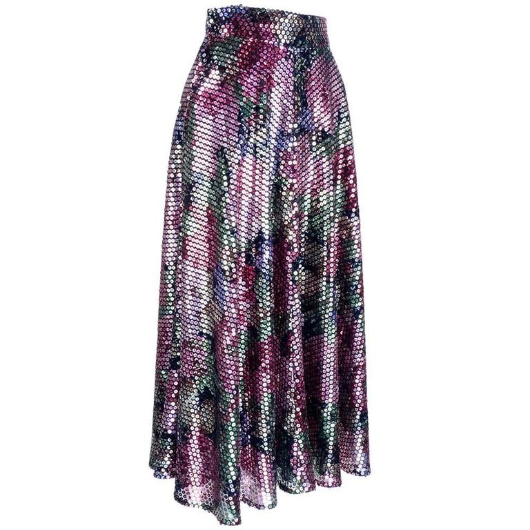 Krizia 70s Rainbow Floral Sequin Full Skirt 1