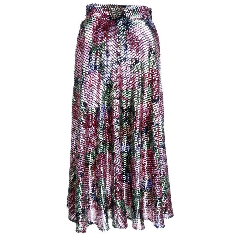 Krizia 70s Rainbow Floral Sequin Full Skirt 2