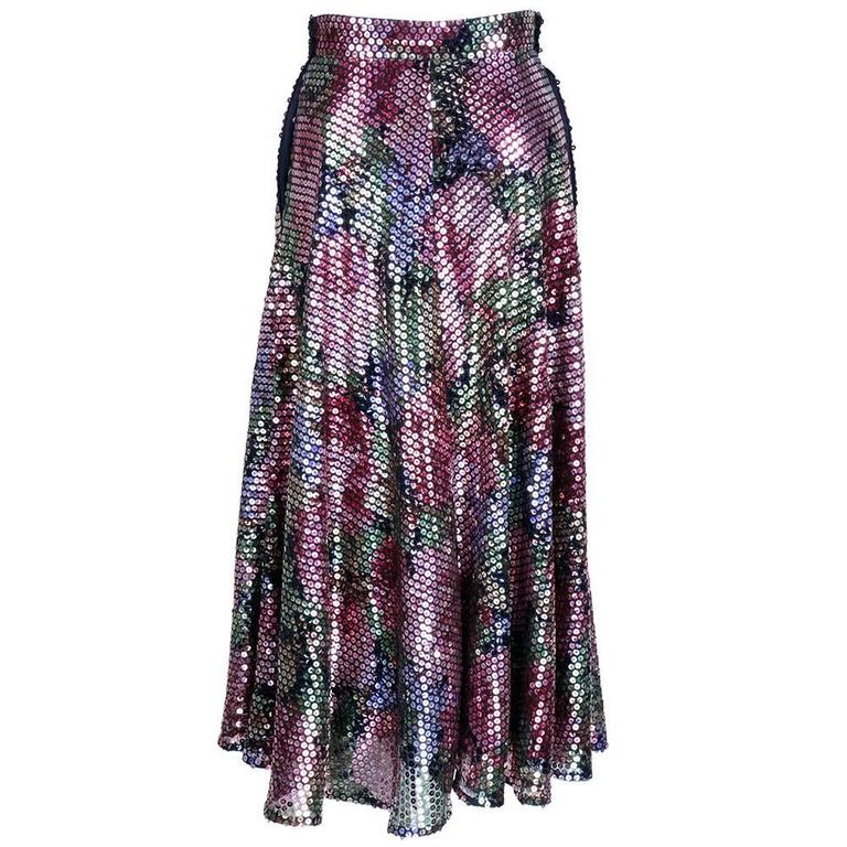 Krizia 70s Rainbow Floral Sequin Full Skirt 4