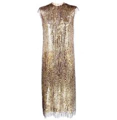 Norman Norell Attribution 1960s Beaded and Sequined Cocktail Dress