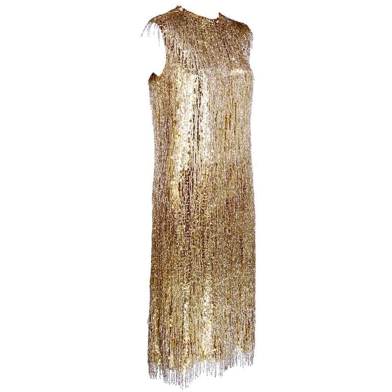 Norman Norell Attribution 1960s Beaded and Sequined Cocktail Dress 2
