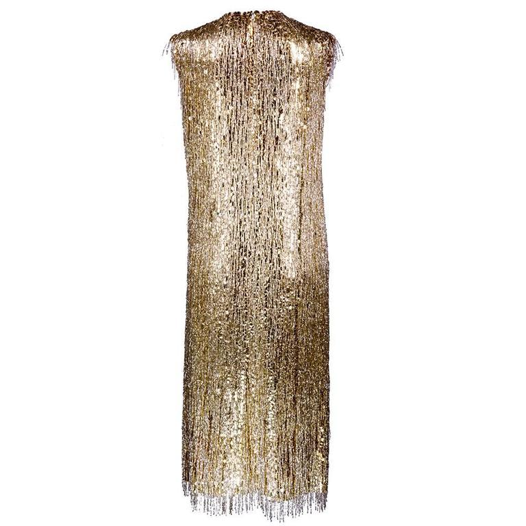 Norman Norell Attribution 1960s Beaded and Sequined Cocktail Dress 3
