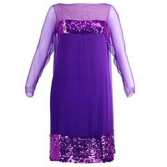 Travilla 60s Purple Chiffon Cocktail Dress