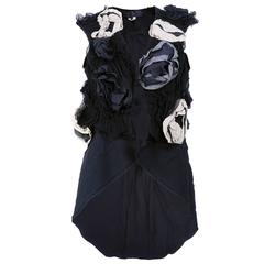 Comme des Garçons Sleeveless Cotton Waistcoat w/Rosette Appliqués