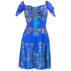 90s Zandra Rhodes Blue Silk Screened Dress with Scarf