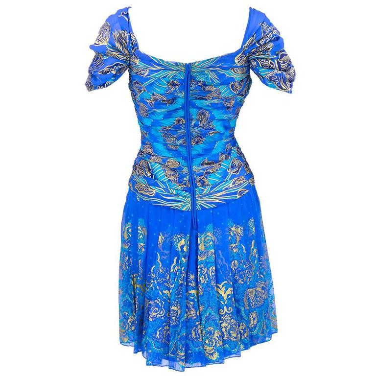 90s Zandra Rhodes Blue Silk Screened Dress with Scarf 3