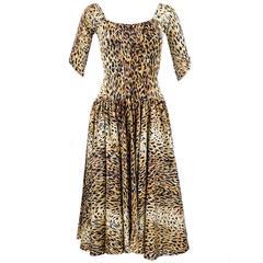 80s Norma Kamali Iconic Leopard Print Jersey Dress