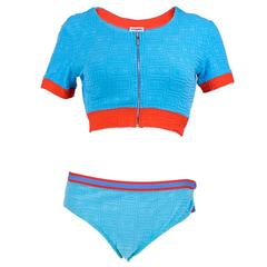 90s Chanel 3 Pc. Blue Terry Logo Swimsuit