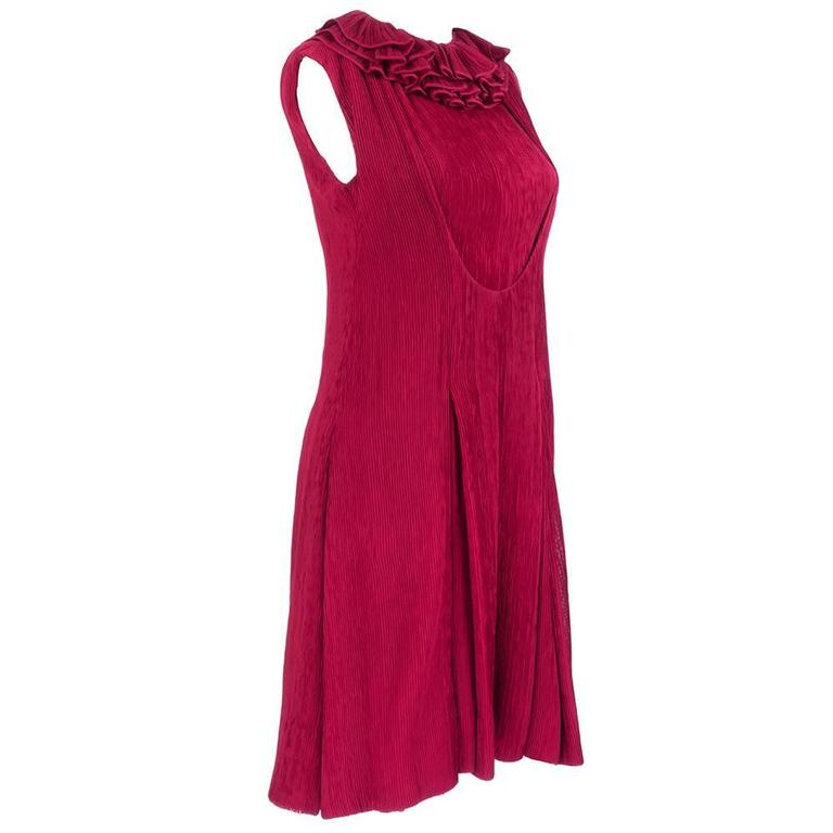 80s Galanos Red Pleated Chiffon Cocktail Dress with Ruff 2