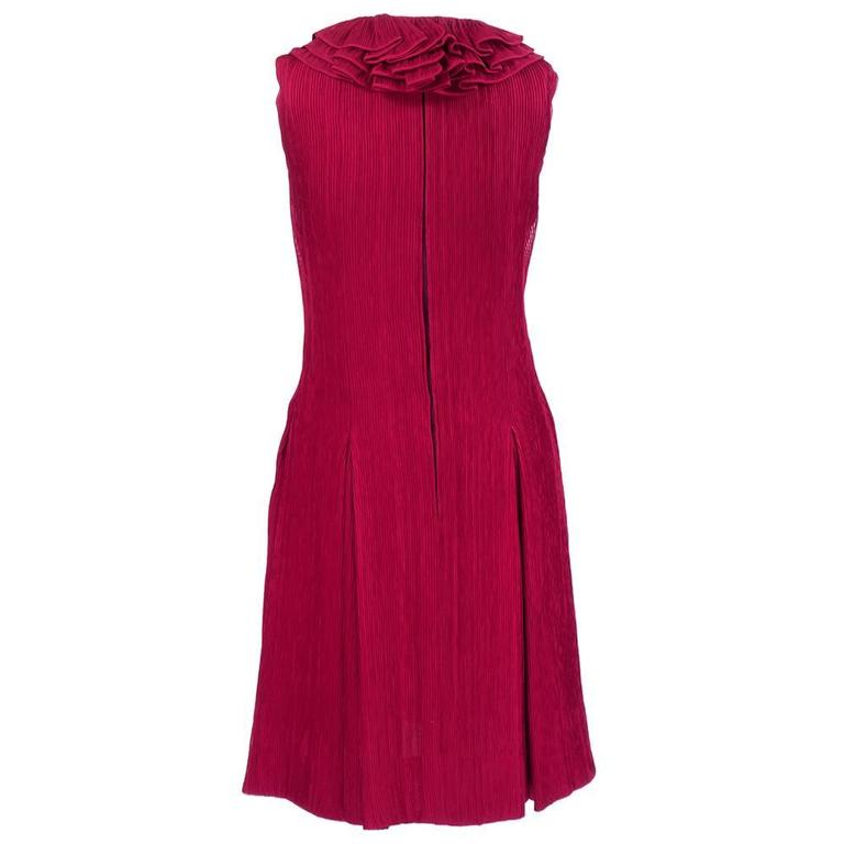 80s Galanos Red Pleated Chiffon Cocktail Dress with Ruff 3