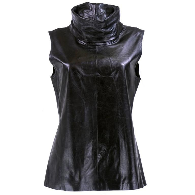 Ann Demeulemeester Black Leather High Funnel Neck Tunic For Sale