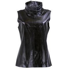 Ann Demeulemeester Black Leather High Funnel Neck Tunic