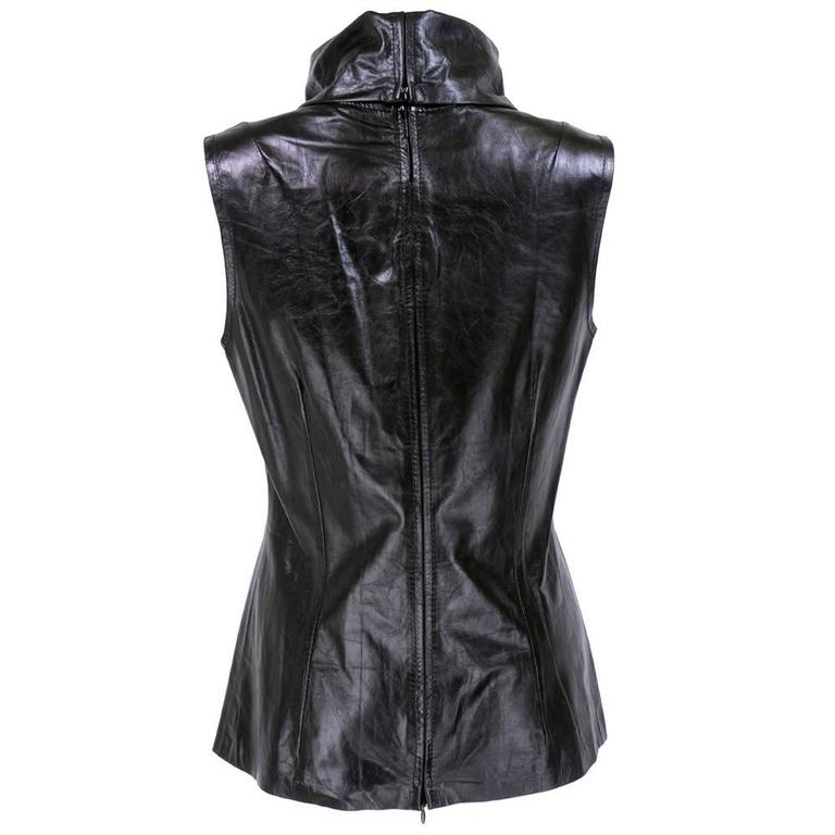 Ann Demeulemeester Black Leather High Funnel Neck Tunic In Excellent Condition For Sale In Los Angeles, CA