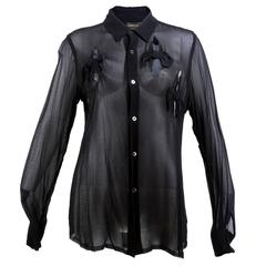 Comme des Garcons Black Chiffon Shirt with Cutouts and Bows