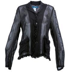 Comme des Garçons Black Chiffon Embroidered Never Worn Shirt/Jacket