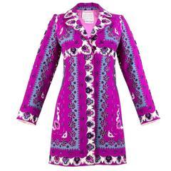1960s Pucci Magenta Print Coat Dress