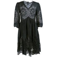 Late Stella McCartney Black Eyelet Babydoll Dress