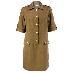 1990s YSL Rive Gauche Khaki Safari Dress