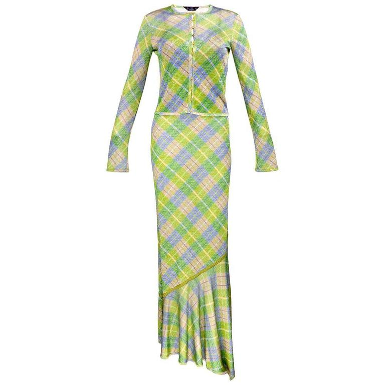 Galliano 90s Green Plaid Gown w/Cardigan 1