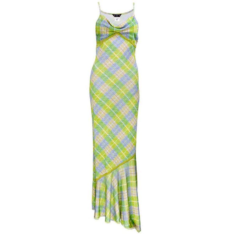 Galliano 90s Green Plaid Gown w/Cardigan 2