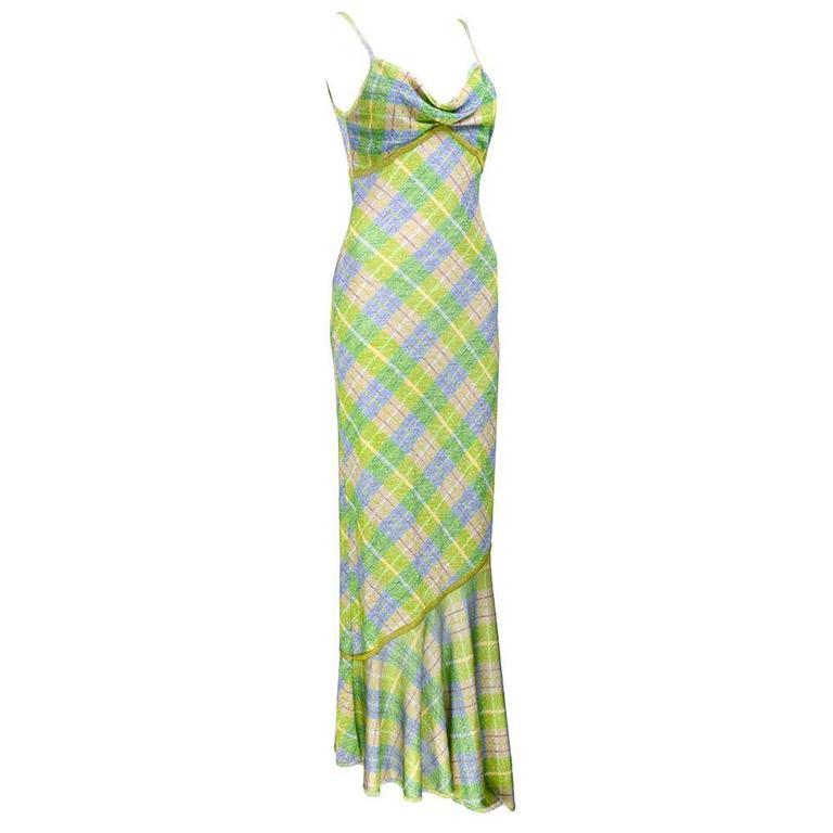 Galliano 90s Green Plaid Gown w/Cardigan 3
