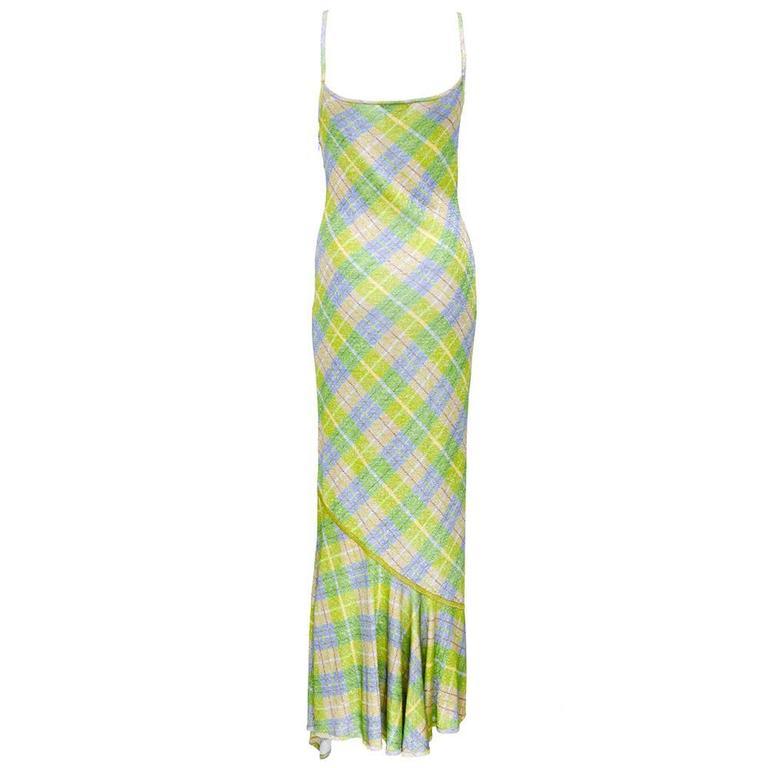 Galliano 90s Green Plaid Gown w/Cardigan 4