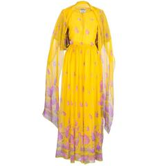70s Valentino Yellow Floral Chiffon Gown With Wrap