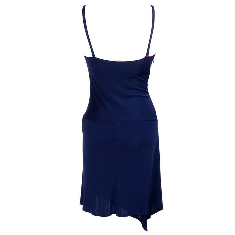 90s Christian Lacroix Blue jersey Body Con Dress with Studs 3