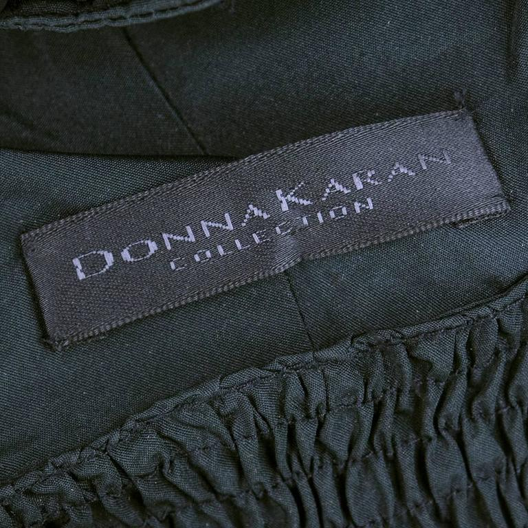 Donna Karan Black Ruched Strapless Lace Up Top 5