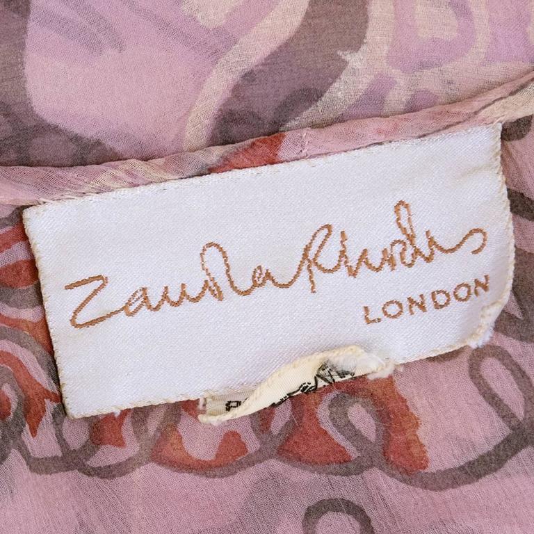 80s Zandra Rhodes Chiffon Top with Pearls 5