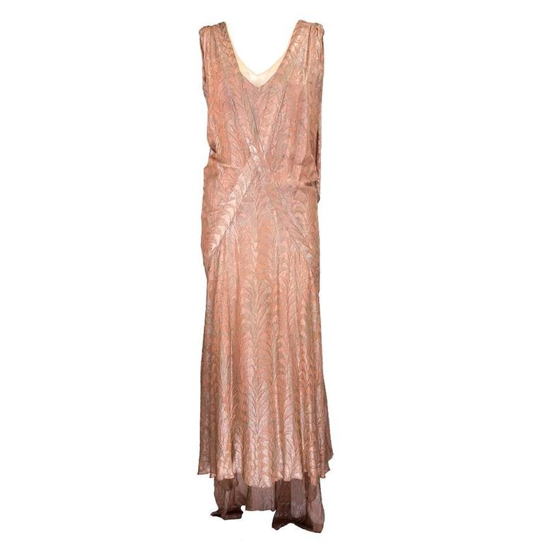 30s Zama Copper Lame Deco Gown 1