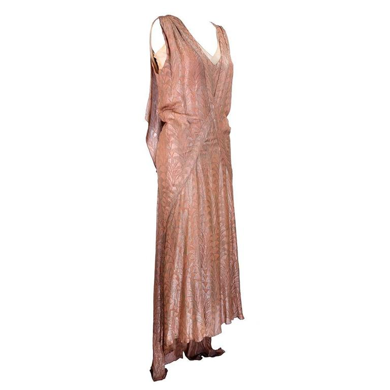 30s Zama Copper Lame Deco Gown 2