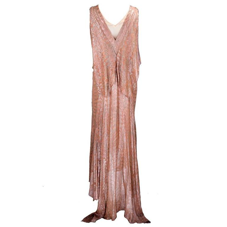 30s Zama Copper Lame Deco Gown 3