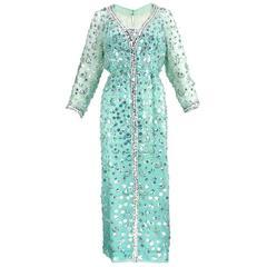 60s Malcolm Starr Sea foam Green Organza Embellished Gown