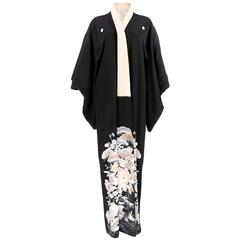 Black Silk Kimono With Floral Print