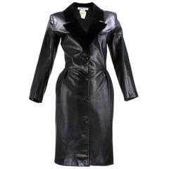 80s Saint Laurent Rive Gauche  Black Leather Coat Dress